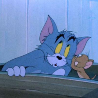 可爱的一对两张抖音猫和老鼠情侣头像高清图片
