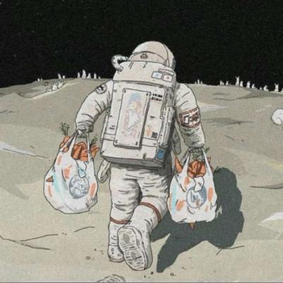 宇宙情侣头像一对两张太空宇航员有点甜