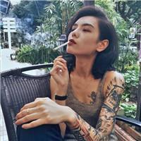 抽烟头像女生霸气十足很社会的霸气纹身女生抽烟图片头像