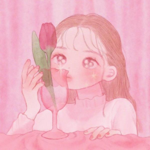 女生粉色手绘头像5张超清好看的女生可爱头像卡通粉色图片