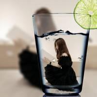 柠檬杯女生头像图片,创意好看的柠檬水杯中的女生图片头像