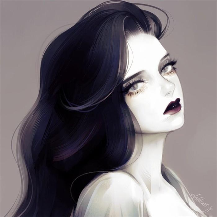动漫高冷长发女头,高清长头发的动漫女头高冷忧郁图片