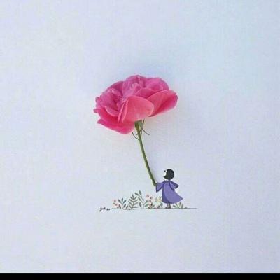 高清超有创意的花朵卡通小女孩子图片头像