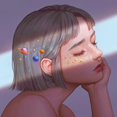 高清唯美超酷的女生彩绘微信头像图片