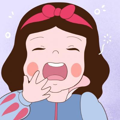 高清超萌可爱打哈欠的迪士尼公主头像图片可用作闺蜜