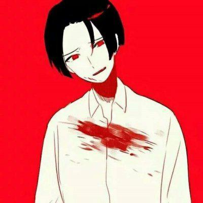 男生红色背景动漫头像高清丧气的红色背影动漫男头